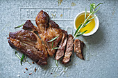 Black Angus steak with rosemary and olive oil