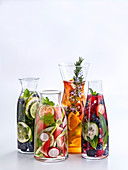 Aromatic water with fruit, vegetables and fresh herbs