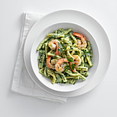 Gemelli in a yoghurt and parsley sauce with gin prawns