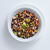 Black rice salad with octopus, celery, carrots and onion