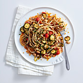 Linguine in sword fish sauce with courgette