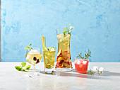 Glasses of refreshing iced tea