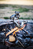 Grilled trout on a skewer over a campfire