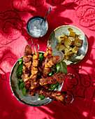 Tandoori chicken kebabs with cucumber and yoghurt