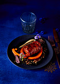 Pork with pumpkin and black pudding