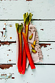 Fresh raw healthy rhubarb on turquoise background flat lay
