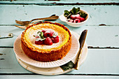 Classic cheesecake with raspberry and icing sugar on turqouise background