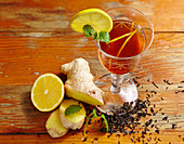 English apple and ginger lemonade with black tea and lemon
