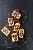 Tomato and mozzarella puff pastries