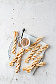 Puff pastry sticks with cinnamon and sugar