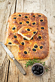 Foccacia with olives and rosemary