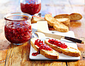 Homemade damson and fig jam on toast with butter