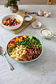 Pasta salad with meat and vegetables