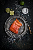 Raw salmon fillet with sea salt on a metal plate