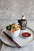 Chinese style coleslaw with tomato soysauce dressing