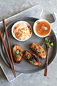 Grilled chicken wings with mango chutney