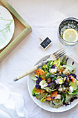 Purple cabbage, orange and feta salad