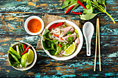 Traditional Vietnamese soup Pho bo with herbs, meat, rice noodles, broth