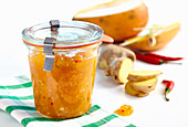 A jar of Thai mango jam with chilli, lemongrass and ginger