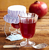 pomegranate jelly in a glass