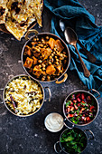 Vegetable curry with chickpeas and butternut squash (India)