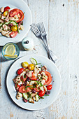Mediterranean tuna salad with tomatoes, beans and olives