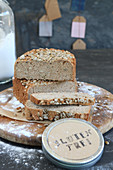 Homemade gluten-free bread with sunflower seeds