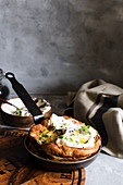 Savory zucchini Dutch baby with labneh