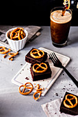Beer brownies with salt pretzels