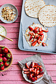 Strawberry flatbread with almond flakes
