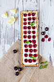 Cherry tart in a tray