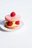 Macaron tart with raspberries