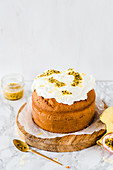 Small passion fruit cake with cream