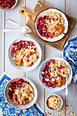 Quinoa dessert with date cream and plums