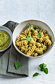 Fresh broad beans and wild herbs pesto