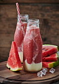Ice-cold melon smoothies with watermelon, galia melon and yoghurt