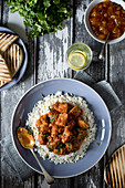 Beef curry with cilantro on basmati rice