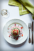 Vegetable cream cheese tart with radishes, cucumber and tomato salsa