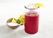 Savory beetroot smoothie with pineapple, Worcestershire sauce and salt