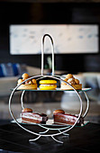 Sweet biscuits on an elegant cake stand