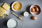 Butter, honey, eggs and milk