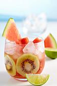 Lime iced tea with watermelon and kiwi