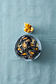 Belgian-style mussels with crème fraîche