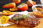 Grilled beef steak with grilled vegetables