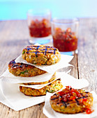 Grilled chickpea and aubergine burgers with pepper relish
