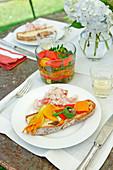 Antipasti of paprika, zucchini and zucchini flowers