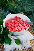 Watermelon in cubes