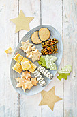A plate of mixed oriental biscuits for Christmas