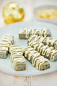 Kurogoma biscuits decorated with white chocolate for Christmas