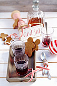 Swedish Christmas punch with red wine, spices, rum and gingerbread